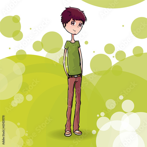 Boy with Abstract Background