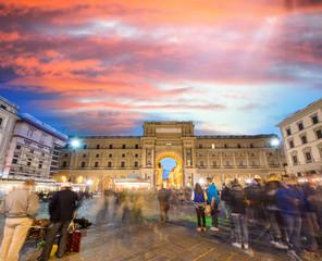 Tourists in Piazza della Repubblica. Republic Square in Florence