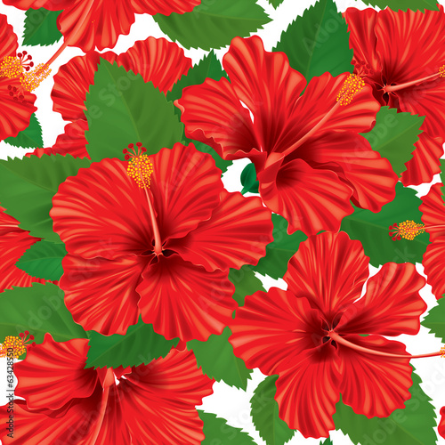Seamless pattern of hibiscus