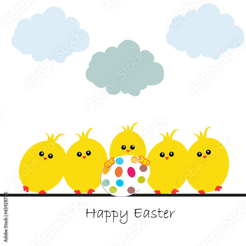 Happy easter greeting card, chicks and egg vector