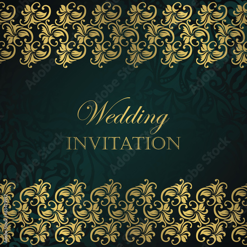 Stylish invitation with gold borders