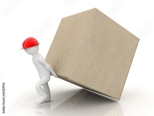 3d people, cardboard box