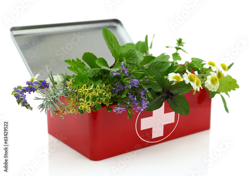 Deurstickers Kruiden Fresh herbs in first aid kit