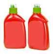 Red plastic bottles for liquid soap
