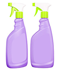 Purple glass cleaner bottles