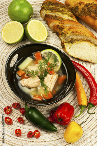 Fish soup from salmon, potato and bread
