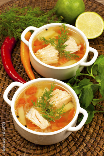 Fish soup with potato and carrots