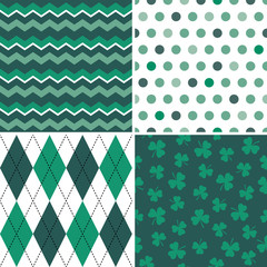 set of seamless background patterns in green and white