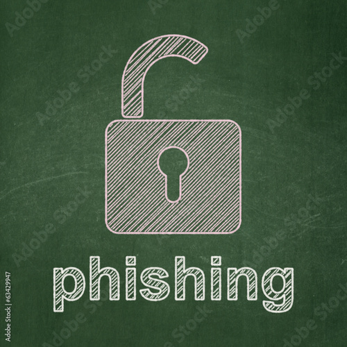 Privacy concept: Opened Padlock and Phishing on chalkboard