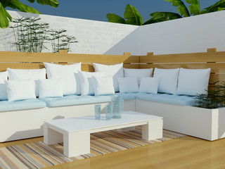 Outdoor patio seating area.