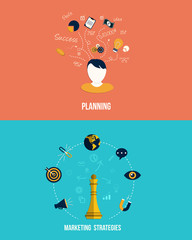 Icons for Marketing strategies and Planning. Flat style. Vector