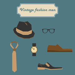 Vintage fashion men elements set