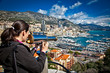 Woman looking at  Monte Carlo in Monaco.