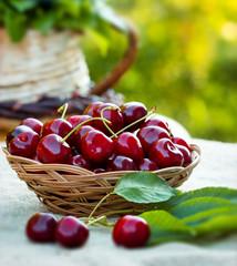 Fresh organic cherries in wicker basket