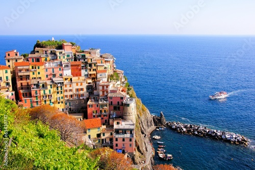 Aerial view over a Cinque Terre village on the coast of Italy