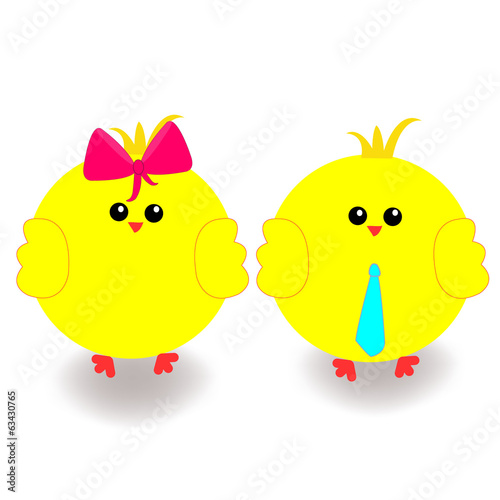 Easter holiday chicks vector
