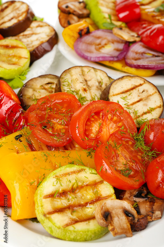 Delicious grilled vegetables on plate close-up
