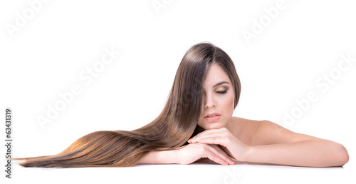 canvas print picture Beautiful young woman with long hair isolated on white