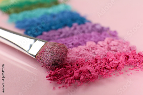 Rainbow crushed eyeshadow and professional make-up brush