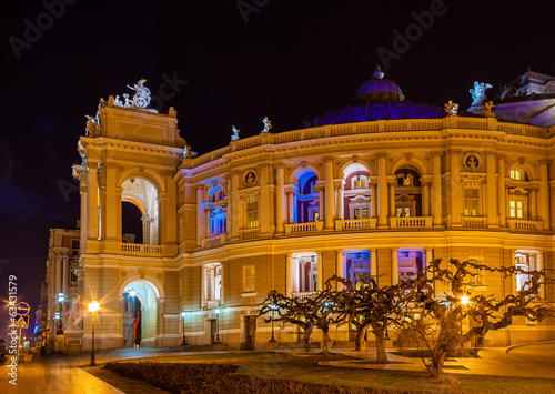 Odessa Opera and Ballet Theater at night. Ukraine
