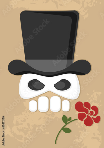 cartoon skull with top hat