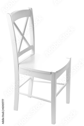 Old wooden chair, isolated on white