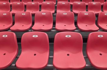 Red stadium grandstand