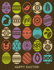 set of colour easter eggs over wooden background, vector