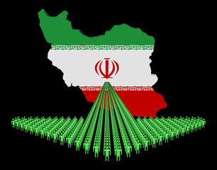 Arrow of people with Iran map flag illustration