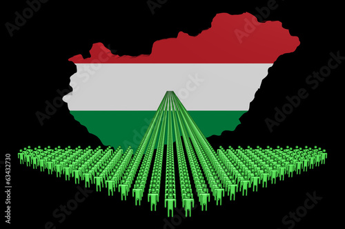 Arrow of people with Hungary map flag illustration