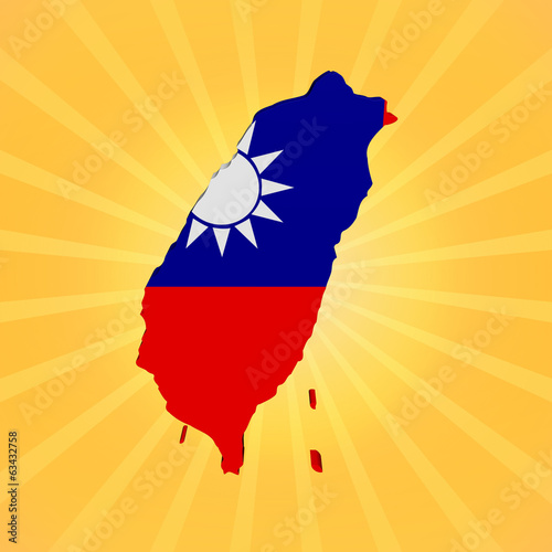 Taiwan map flag on sunburst illustration