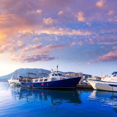 Denia Port fisherboats Montgo mountain in Alicante