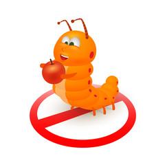 Cute orange caterpillar cartoon