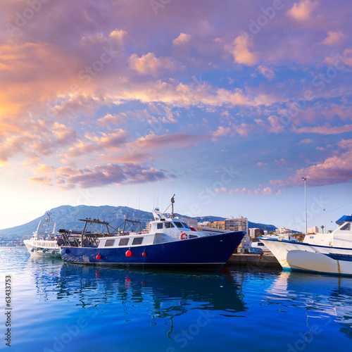 Denia Port fisherboats Montgo mountain in Alicante