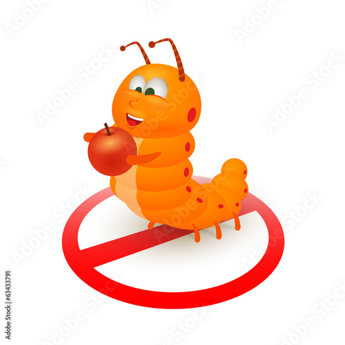 Cute orange caterpillar cartoon