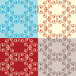 Seamless floral pattern in four different colors