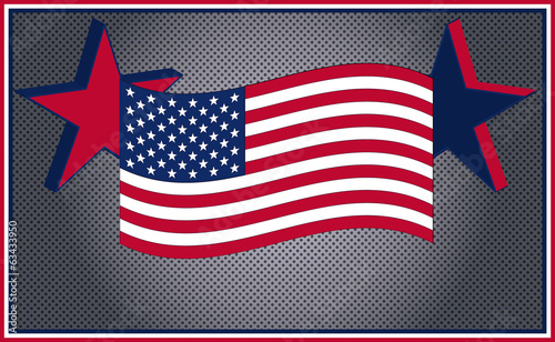 America flag steel background, United States, USA, US, vector