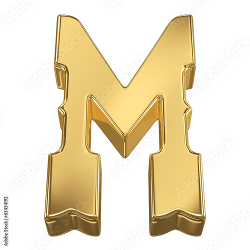 Letter M from gold solid alphabet, tilt 30 degrees, render