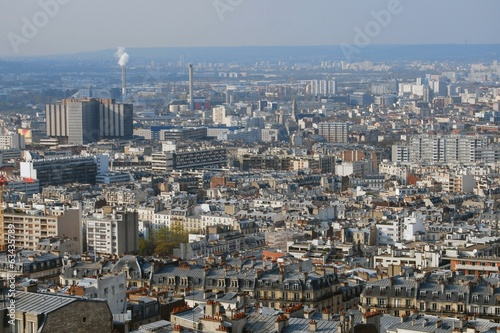 Paris cityscape with factories and houses