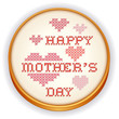 Mothers Day, Embroidery, Love, Heart needlework, retro wood hoop