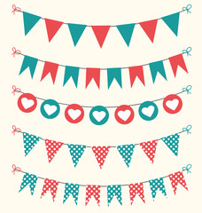 Retro bunting set red and green for scrapbook