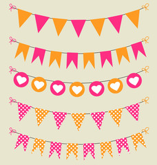 Bunting set pink and orange hearts and polka dots