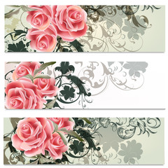 Business cards set in floral style