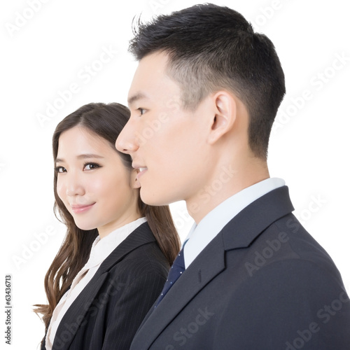 Side view of businessman and woman
