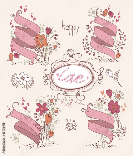 Beautiful card with ribbons, flowers and love.