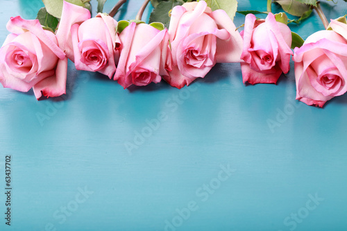 Pink roses on turquoise blue wooden board