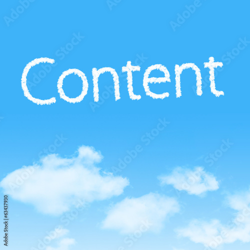 Content cloud icon with design on blue sky background