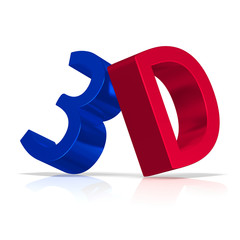 Blue and red 3d text