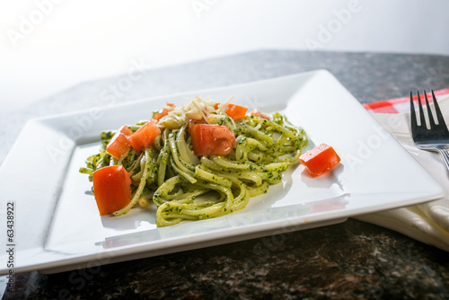 Fettucini pasta with pesto sauce