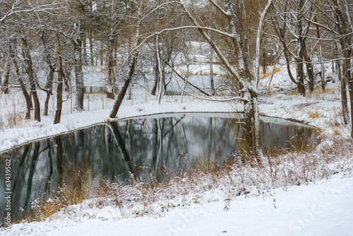 not frozen pond in winter